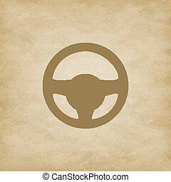 Car wheel on grunge background - Car steering wheel isolated...