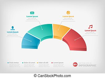 Half of a business pie chart for reports or infographic.