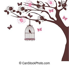 bird cage tree - vector vintage tree with bird cage