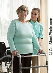 Elder lady in rest home - Picture of elder lady in rest home
