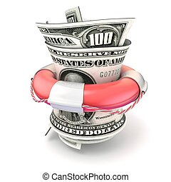 Red lifebuoy saving roll dollars - Red lifebuoy saving...