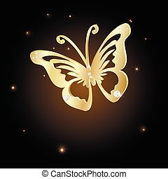 Gold Lace butterfly on brown background. Vector...