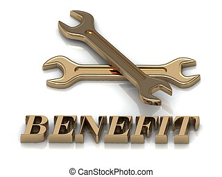 BENEFIT- inscription of metal letters and 2 keys