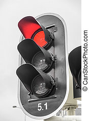 Red color on the traffic light - Red color on the traffic...