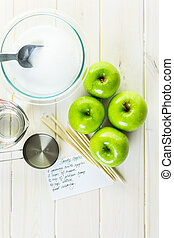 Black candy apples - Ingredients for preparing homemade...
