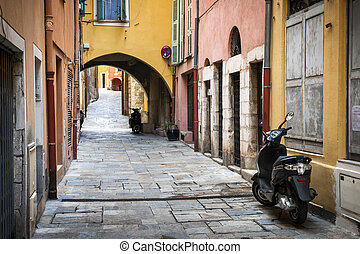 Old town in Villefranche-sur-Mer - Narrow cobblestone street...