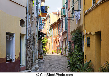 Street with sunshine in Villefranche-sur-Mer - Sunny narrow...