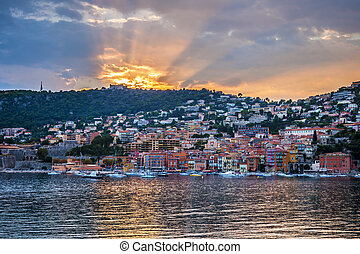 Sunset in Villefranche-sur-Mer - Coast view of colourful...