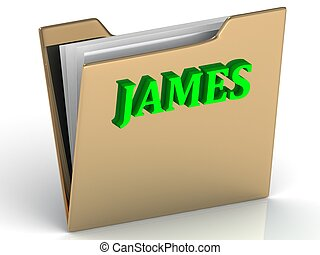 JAMES- Name and Family bright letters on gold folder on a...