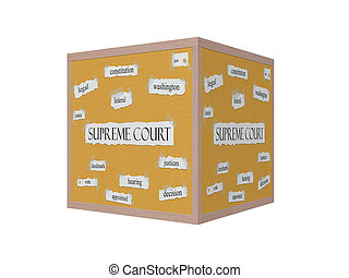 Supreme Court 3D Corkboard Word Concept with great terms...