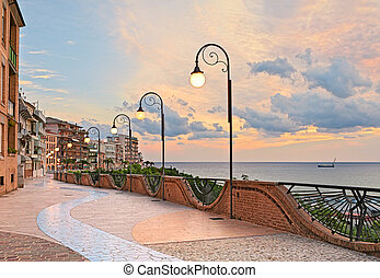 seafront at dawn in Ortona, Abruzzo, Italy - beautiful...