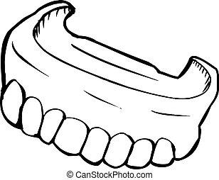 Outlined Dentures - Close up outlined illustration of...