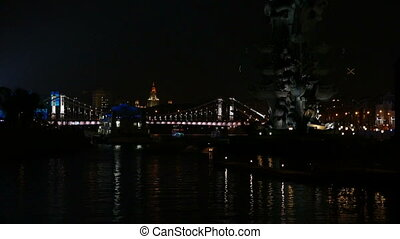 Moscow River in the center of the city at night in the fall
