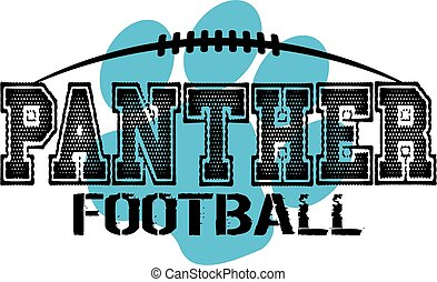 panther football design with laces and large paw print in...