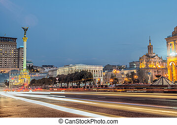 Independence square, the main square of Kyiv - Evening...