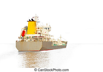 Ship silhouette - Photo of a tanker ship isolated on white...