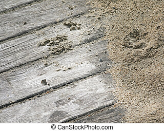 Sandy boardwalk closeup