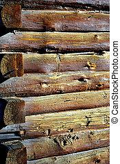 Log cabin. - Vintage log cabin displayed outdoors.