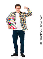 Student with books - Young student carrying books, isolated...