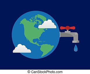 Earth Faucet Water Droplet - Earth with connected water...