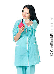 Female doctor - Young female doctor with enema, isolated on...