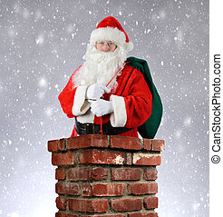 Santa Claus Inside Chimney Snowy Background