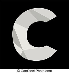 C alphabet letter isolated on black