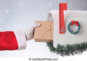 Santa Package Mailbox Snowy Background