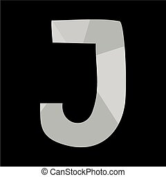 J alphabet letter isolated on black