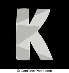 K alphabet letter isolated on black