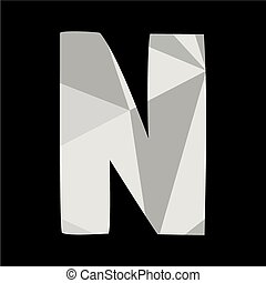 N alphabet letter isolated on black