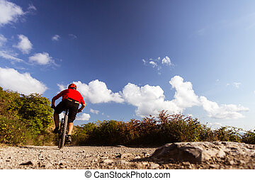 Mountain biker riding MTB