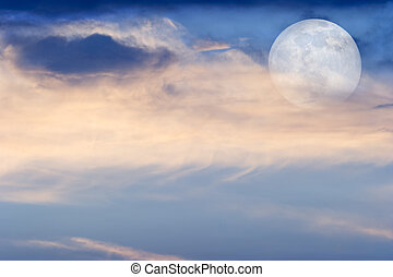 Moon Clouds Skies - Moon clouds is a soft colorful scenic...