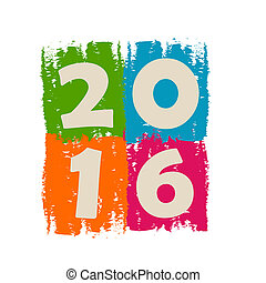 new year 2016 in drawn colorful banner, holiday concept