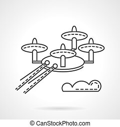 Surveillance drone flat line vector icon - Military unmanned...