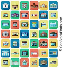 Set of the flat city buildings and shops.