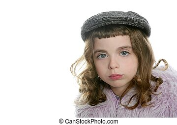 beret hat girl winter fur coat portrait looking camera white...