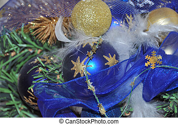 Blue balls - Christmas decorative composition with ball -...