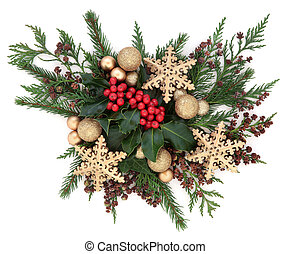 Christmas Gold Bauble Display - Christmas flora with gold...