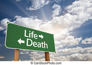 Life and Death Green Road Sign Over Clouds - Life and Death...