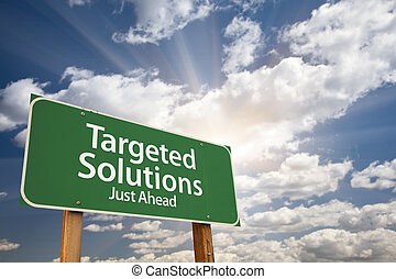 Targeted Solutions Green Road Sign Over Clouds - Targeted...