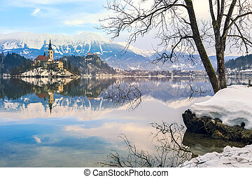 Church of the Assumption on the island in lake Bled-Slovenia
