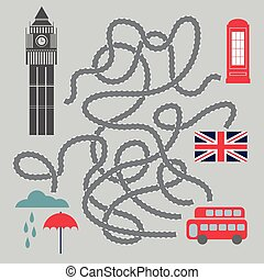 Maze With London Symbols - vector illustration