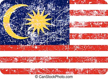 illustration vector grunge stamp flag of Malaysia country.