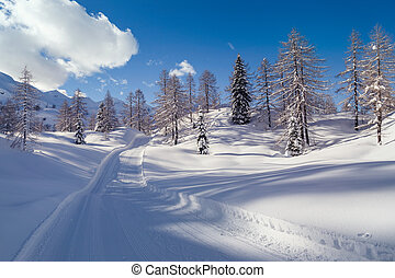 Snowy winter road in Julian Alps-Slovenia