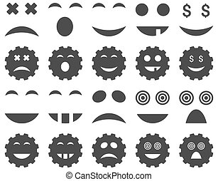 Tool, gear, smile, emotion icons. Glyph set style is flat...