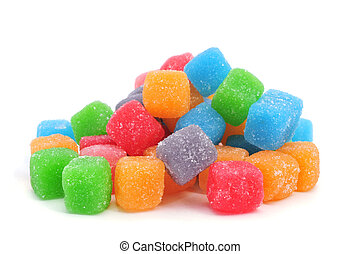 cubic gumdrops - some cubic gumdrops of different colors on...