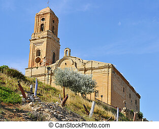 Sant Pere Church in Poble Vell de Corbera de Ebro in Spain -...