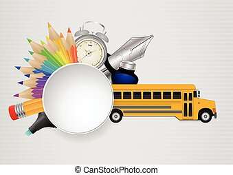 blank round school - illustration of object school with...