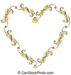 Gold valentine`s floral frame vector - Gold valentine`s...